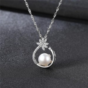 Natural Pearl Inlaid Elegant Flower Pendant 18k Gold Plated 925 Sterling Silver Necklace - White