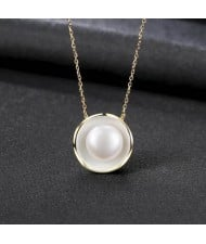 Pearl Inlaid Seashell Pendant Design Graceful 925 Sterling Silver Necklace - White
