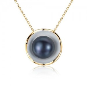 Pearl Inlaid Seashell Pendant Design Graceful 925 Sterling Silver Necklace - Black