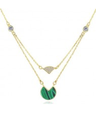 Turquoise and Rhinestone Embellished Dual Layers Design 18k Gold Plated 925 Sterling Silver Necklace