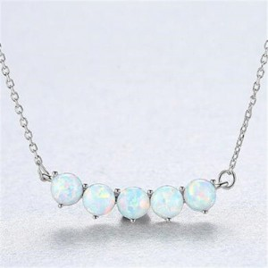 Natural Gem Balls Pendant Design 925 Sterling Silver Necklace - White