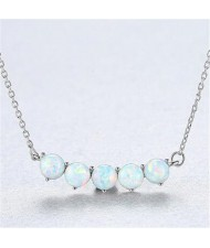 Natural Gem Balls Pendant Design 925 Sterling Silver Necklace - White