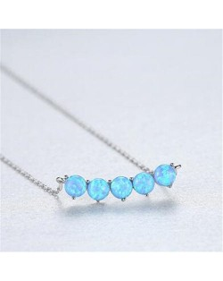Natural Gem Balls Pendant Design 925 Sterling Silver Necklace - Blue