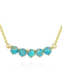 Natural Gem Balls Pendant Design 925 Sterling Silver Necklace - Teal