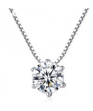 Six-claw Crystal Pendant Elegant Fashion 925 Sterling Silver Necklace