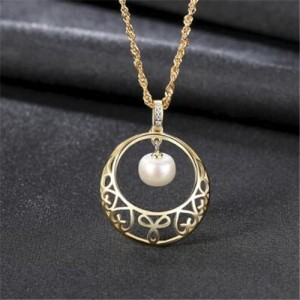 Oval-shaped Pearl Pendant Inlaid Floral Hollow Hoop Design 925 Sterling Silver Necklace - Golden