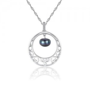 Oval-shaped Pearl Pendant Inlaid Floral Hollow Hoop Design 925 Sterling Silver Necklace - Silver