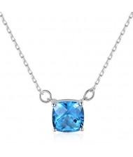 Natural Blue Gem Pendant 925 Sterling Silver Necklace