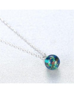 Natural Ball Gem Pendant 925 Sterling Silver Necklace - Green