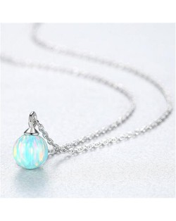Natural Ball Gem Pendant 925 Sterling Silver Necklace - Light Blue