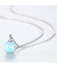 Natural Ball Gem Pendant 925 Sterling Silver Necklace - Light Blue