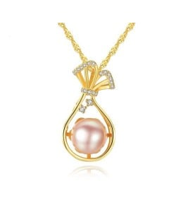 Natural Pearl Inlaid Fortune Bag Pendant 925 Sterling Silver Necklace - Pink