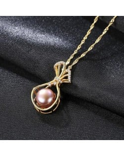 Natural Pearl Inlaid Fortune Bag Pendant 925 Sterling Silver Necklace - Purple