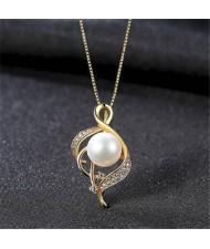 Natural Pearl Inlaid Graceful Pendant Design 925 Sterling Silver Necklace - White