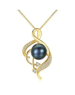 Natural Pearl Inlaid Graceful Pendant Design 925 Sterling Silver Necklace - Black