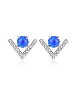 Natural Gem Inlaid V Shape Design 925 Sterling Silver Earrings - Blue
