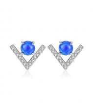 Natural Gem Inlaid V Shape Design 925 Sterling Silver Earrings - Blue