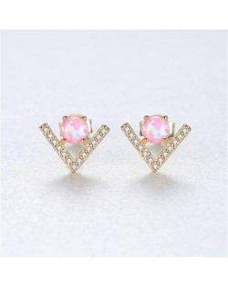 Natural Gem Inlaid V Shape Design 925 Sterling Silver Earrings - Pink