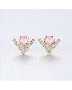 Natural Gem Inlaid V Shape Design 925 Sterling Silver Earrings - Pink