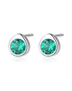 Gem Embellished Mini-fashion Waterdrop Design 925 Sterling Silver Earrings - Green