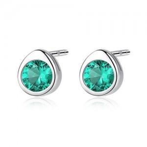 Gem Embellished Mini-fashion Waterdrop Design 925 Sterling Silver Earrings - Green