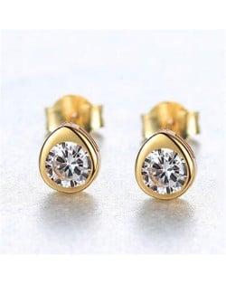 Gem Embellished Mini-fashion Waterdrop Design 925 Sterling Silver Earrings - White