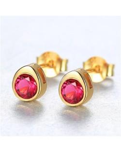 Gem Embellished Mini-fashion Waterdrop Design 925 Sterling Silver Earrings - Red
