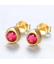 Gem Embellished Mini-fashion Waterdrop Design 925 Sterling Silver Earrings - Red
