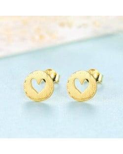 Hollow Heart Button Shape 925 Sterling Silver Earrings - Golden