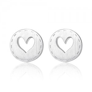 Hollow Heart Button Shape 925 Sterling Silver Earrings - Silver