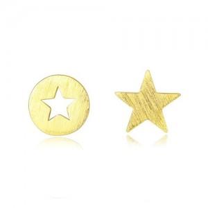 Star Design Asymmetric Fashion 925 Sterling Silver Earrings - Golden