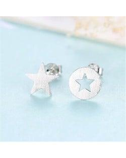 Star Design Asymmetric Fashion 925 Sterling Silver Earrings - Silver