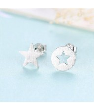 Star Design Asymmetric Fashion 925 Sterling Silver Earrings - Silver