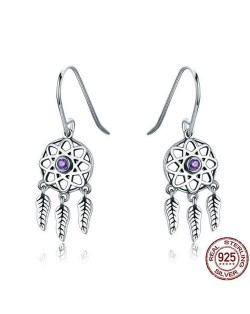 Leaves Pendants Hollow Star Design 925 Sterling Silver Earrings