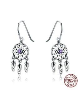 Leaves Pendants Hollow Star Design 925 Sterling Silver Earrings