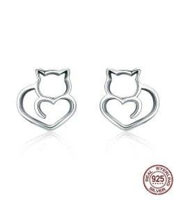 Cute Cat Hollow Style 925 Sterling Silver Earrings