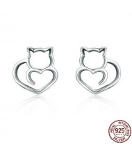 Cute Cat Hollow Style 925 Sterling Silver Earrings