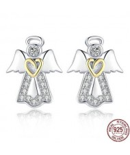 Rhinestone Embellished Angel Design 925 Sterling Silver Earrings