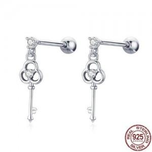 Cubic Zirconia Embellished Keys Design 925 Sterling Silver Earrings
