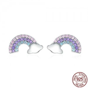 Cubic Zirconia Rainbow Cute Design 925 Sterling Silver Earrings