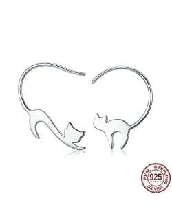 Naughty Cats Asymmetric Design 925 Sterling Silver Earrings