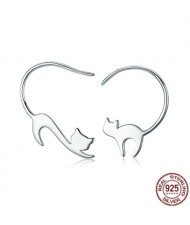 Naughty Cats Asymmetric Design 925 Sterling Silver Earrings