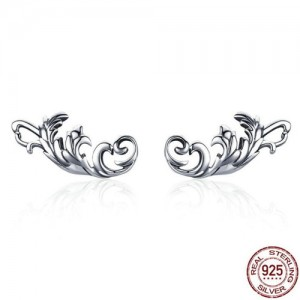 Vintage Floral Design 925 Sterling Silver Earrings