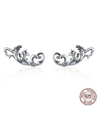 Vintage Floral Design 925 Sterling Silver Earrings