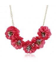 Sweet Cloth Flowers Women Fashion Necklace - Rose
