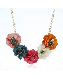 Sweet Cloth Flowers Women Fashion Necklace - Multicolor