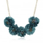 Sweet Cloth Flowers Women Fashion Necklace - Ink Blue
