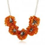 Sweet Cloth Flowers Women Fashion Necklace - Orange