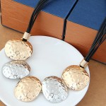 Coarse Texture Oval Shape Pendants Bold Fashion Necklace