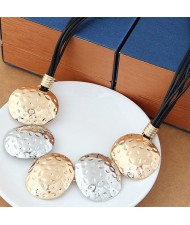 Coarse Texture Oval Shape Pendants Bold Fashion Necklace